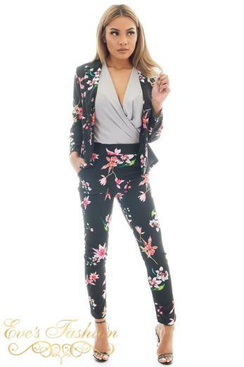 Eve Suzy Flower Suit Black Front