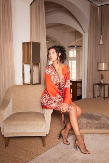 Paisley Kimono Dress Red