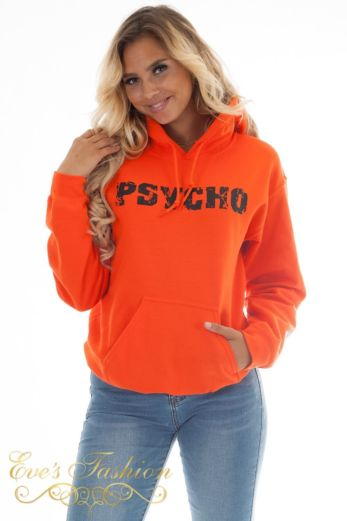 Eve Psycho Hoodie Sweater Orange Close
