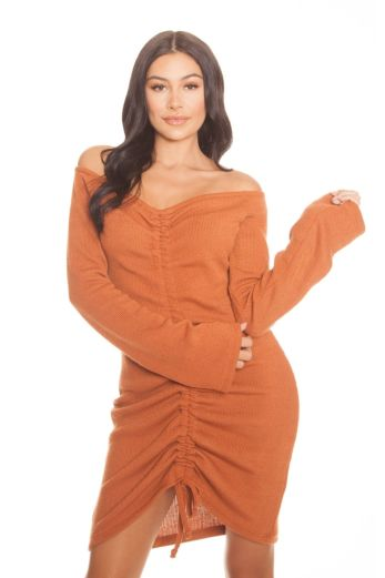 LA Sisters Ruched Ribbed Dress Orange Front