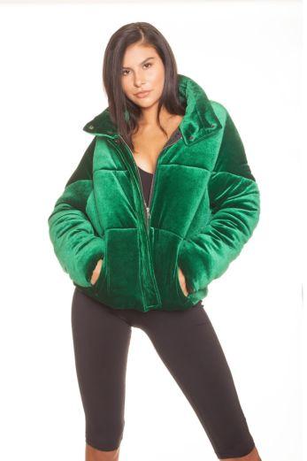 LA Sisters Velvet Puffer Jacket Green