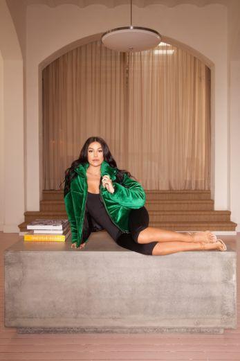 LA Sisters - Velvet Puffer Jacket Green