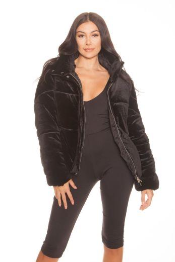 LA Sisters Velvet Puffer Jacket Black Front
