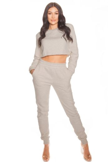 LA Sisters Cropped Joggingsuit Classic Grey