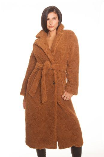 LA Sisters Teddy Coat Long Beige Front