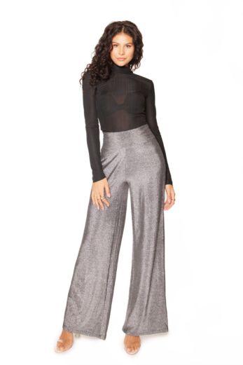 Glitter Wide Leg Trousers Silver