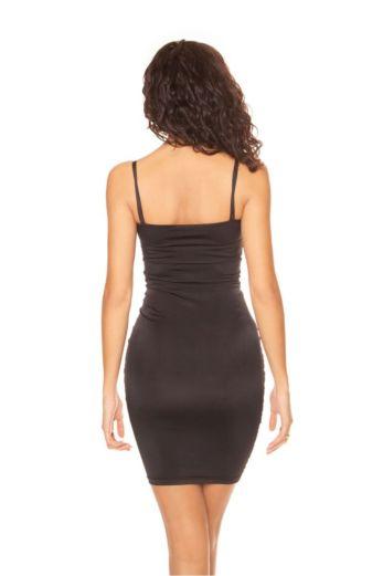 Strap Ruched Midi Dress Black