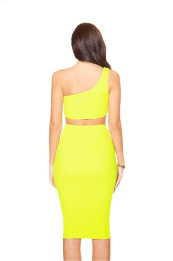 Neon Off-shoulder Two Piece Yellow
