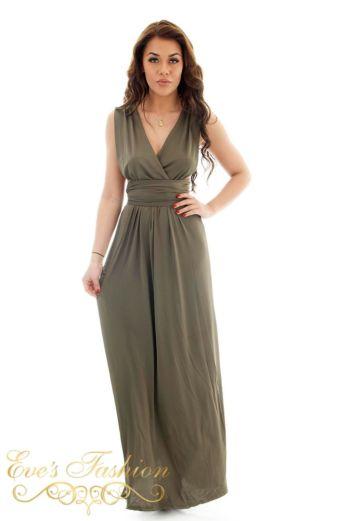 Eve Sahara Wrap Dress Khaki Front