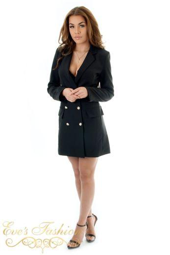 Eve Belle Blazer Dress Black Front Pose