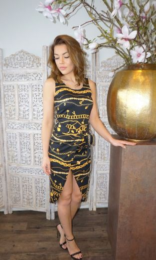Miami Chain Wrap Dress Black