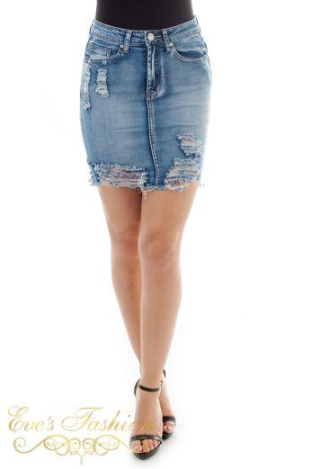 Eve Amy Denim Skirt Close Up Back