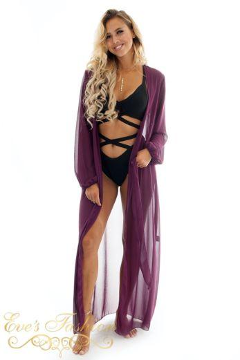 Eve Beach Kimono Purple