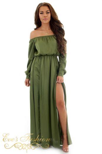 Shiny Satin Dress Khaki Front 1
