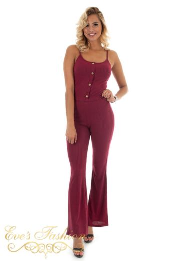 Killing Me Softly Ribbed Two Piece Red
