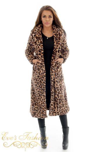 Eve Teddy Coat Leopard Front