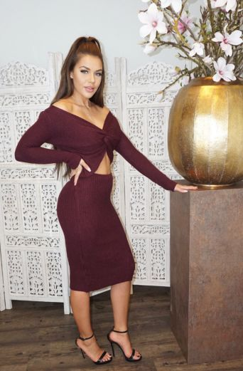 Jaimy Ribbed Two Piece Burgundy