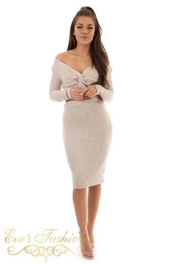 Jaimy Ribbed Two Piece Creme