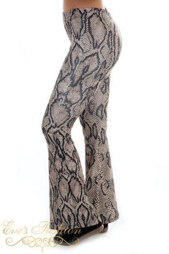 Flare Pants Snake Brown