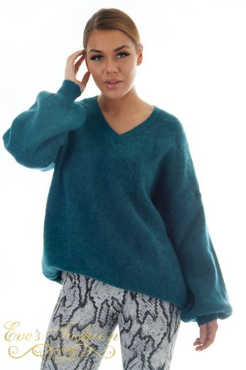 Ella V-Neck Sweater Ocean Blue