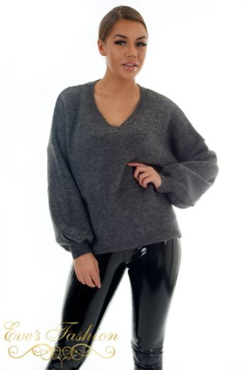 Ella V-Neck Sweater Grey