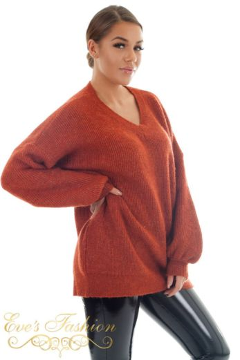 Ella V-Neck Sweater Copper