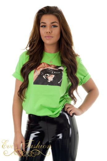 Eve Panther Dior Tee Green Close
