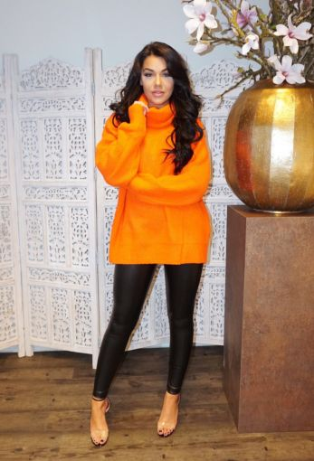 Amber Col Sweater Neon Orange