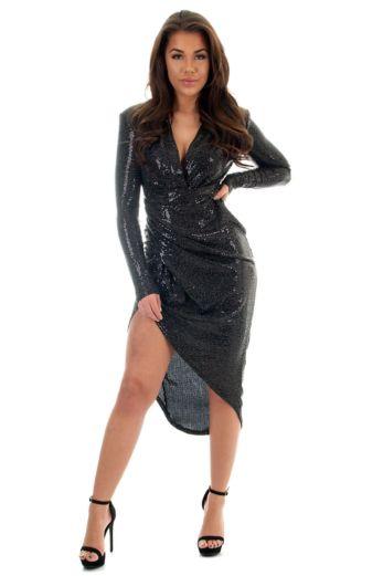 Faye Sequin Long Dress Black