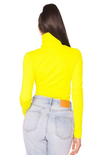 Neon Turtle Neck Top Yellow