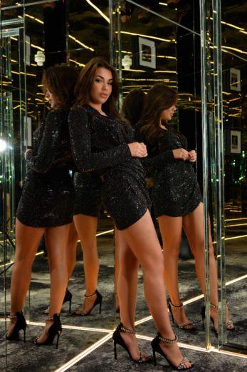 Faye Sequin Short Dress Black