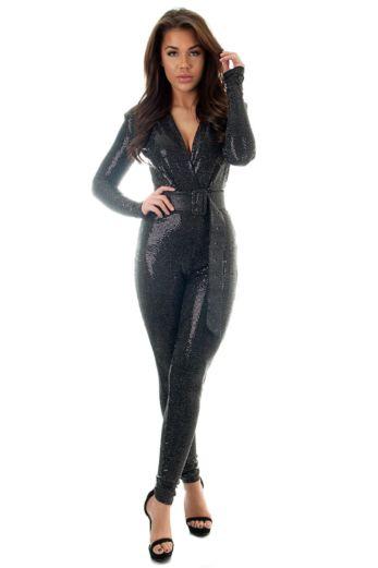 Faye Sequin Jumpsuit Black