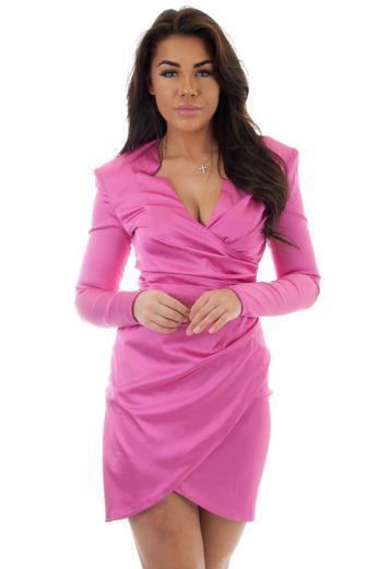 Beau Satin Wrap Dress Fuchsia
