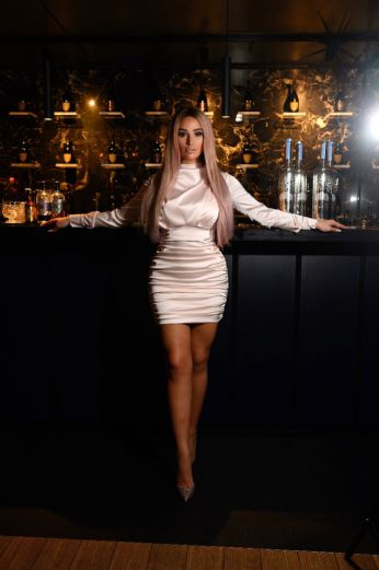 PRE-ORDER Holly Satin High Neck Dress Champagne