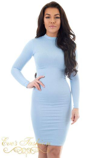 Lana Ribbed Midi Dress Babyblue