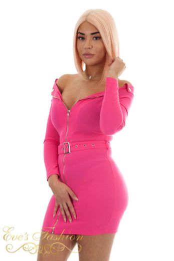 Bardot Zip Dress Fuchsia
