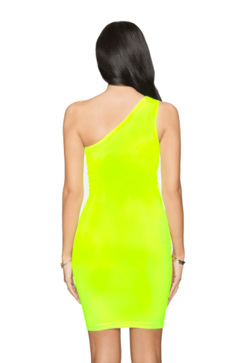Neon Off Shoulder Mini Dress Yellow