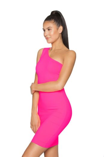 Neon Off Shoulder Mini Dress Pink