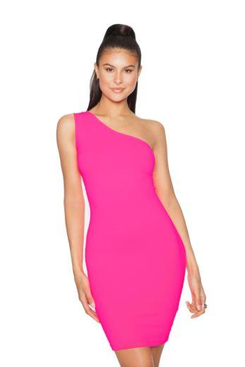 LA Sisters Neon Off Shoulder Mini Dress Pink Front