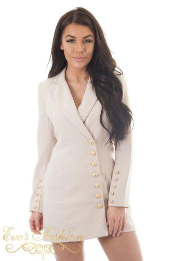Eve Kate Blazer Dress Taupe Close