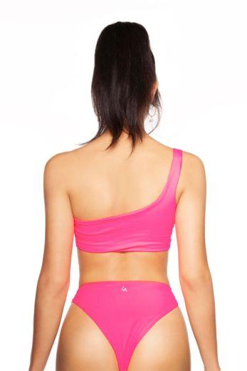 Neon Off-Shoulder Bikini Pink