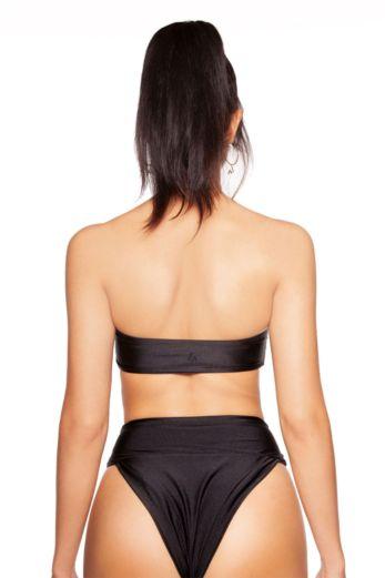 High Waisted Bandeau Bikini Black