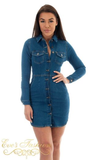 Valery Button Denim Dress Blue