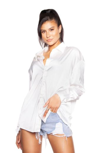 LA Sisters Satin Oversized Blouse White Front