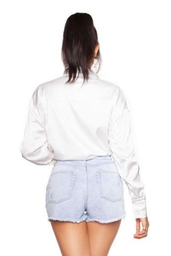 Satin Oversized Blouse White