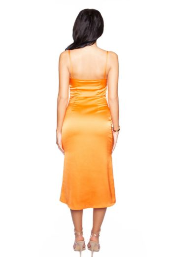 Long Satin Slip Dress Bright Orange