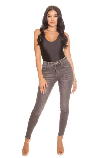 LA Sisters High Waisted Jeans Light Grey Front