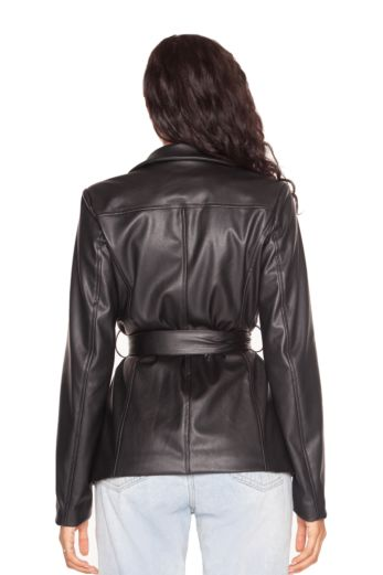 Leather Belted Blazer Jacket