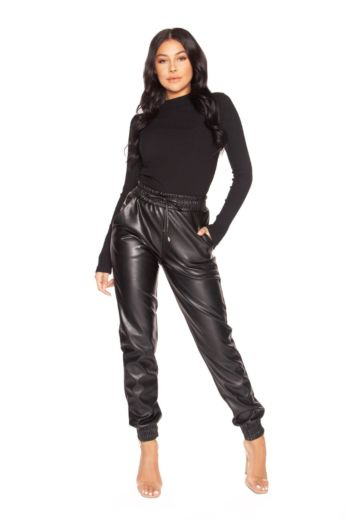 LA Sisters Faux Leather Jogging Pants Black Front