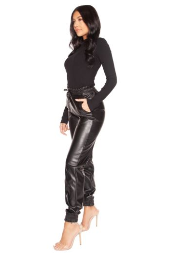 Faux Leather Jogging Pants Black